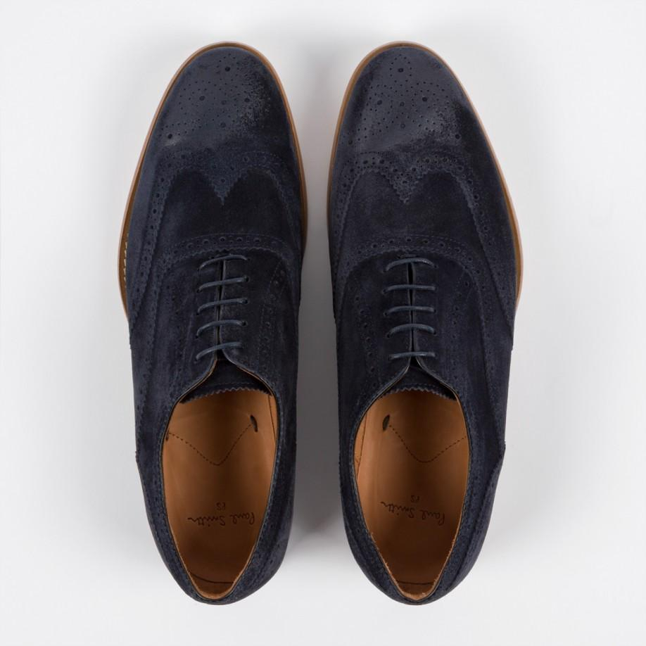 Paul Smith Men'S Navy Suede 'Christo' Brogues in Blue for Men