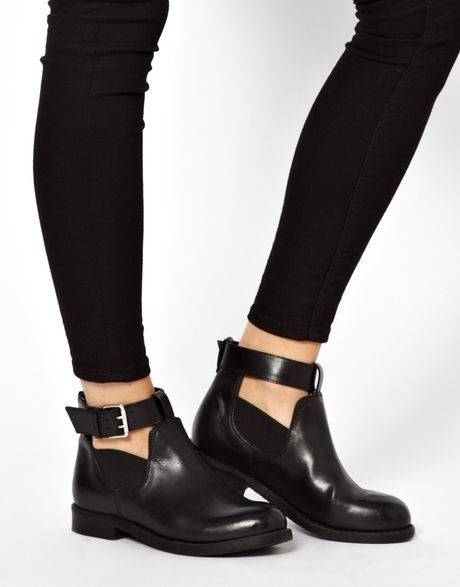 asos ascot leather cut out ankle boots in black lyst