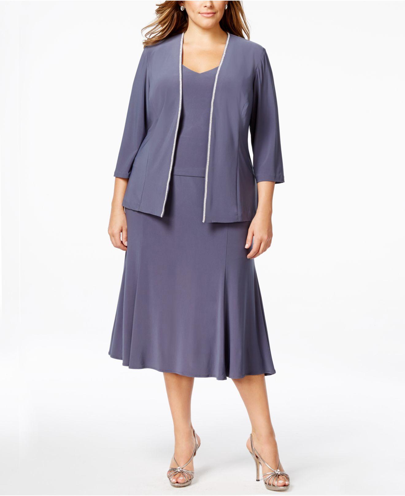 Alex Evenings Metallic Plus Size Rhinestone Dress And Jacket