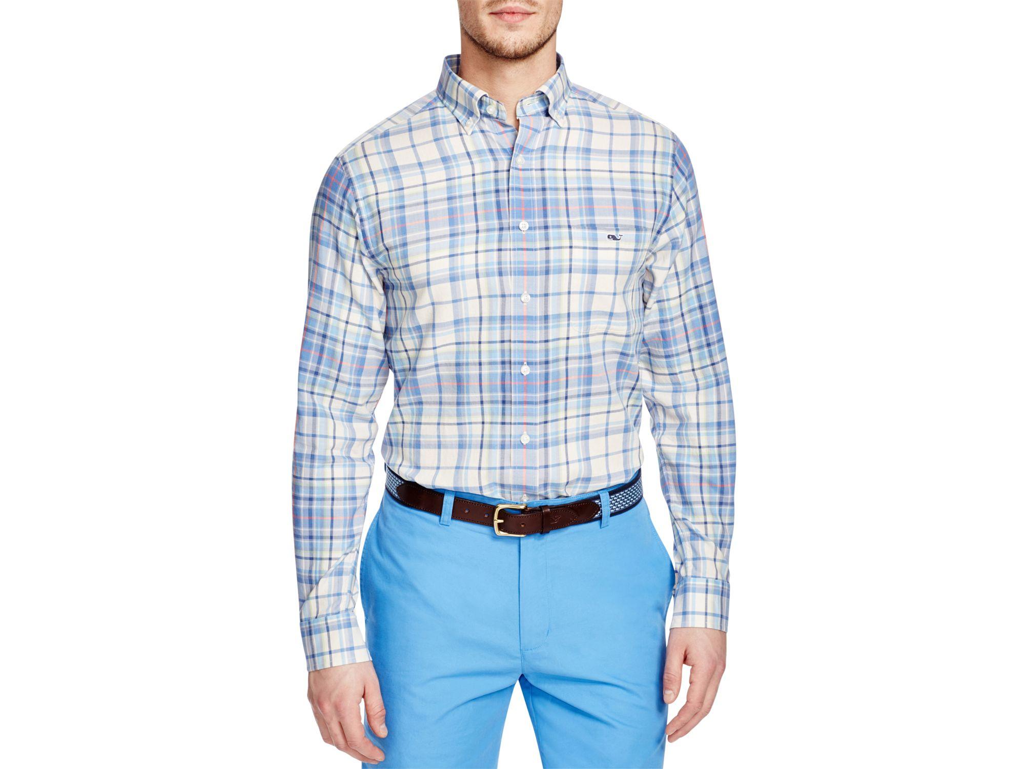Lyst vineyard vines tucker plaid slim fit button down for Slim fit white button down shirt