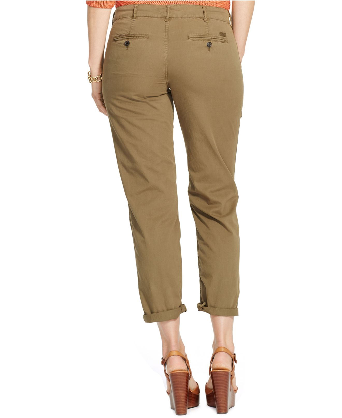 3d992c3496365 Lyst - Lauren by Ralph Lauren Plus Size Rolled-Cuff Chino Pants in Green