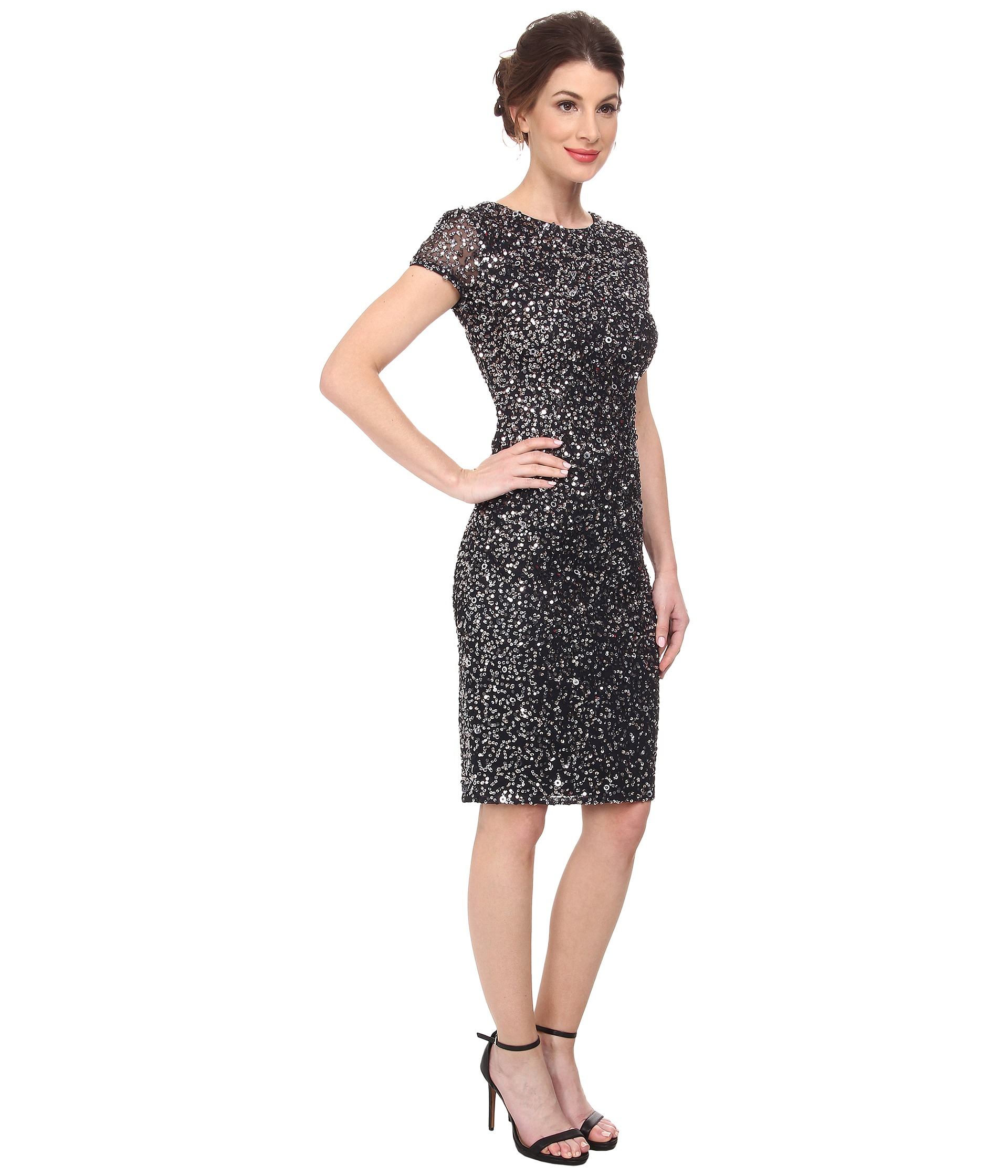 19df249e085 Adrianna Papell Short Sleeve Sequin Cocktail Dress - Gomes Weine AG
