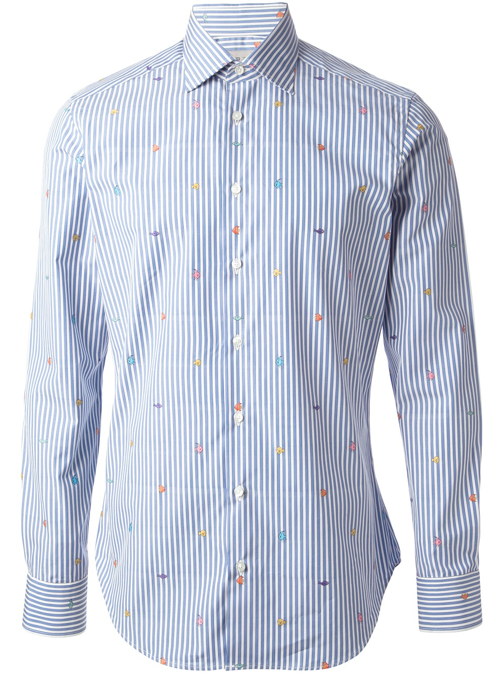 Etro striped fish print shirt in blue for men lyst for Fish print shirt