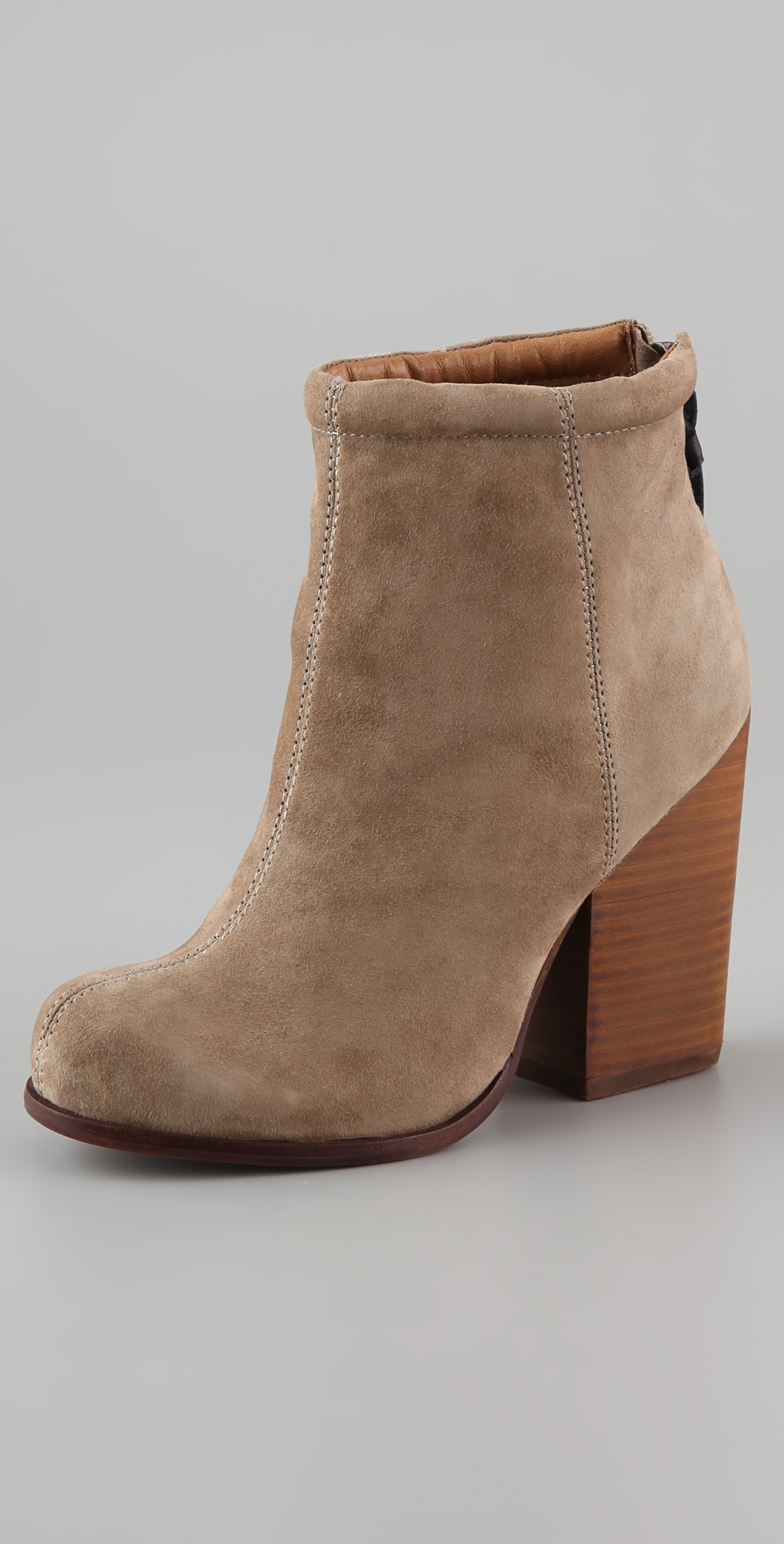Lyst Jeffrey Campbell Rumble Suede Zip Back Booties In Gray