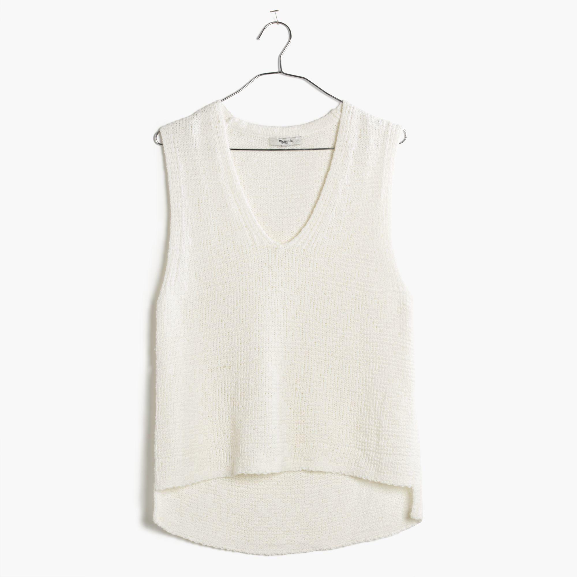 19cb77dbd170 Lyst - Madewell Stitchweave Sweater Tank in White