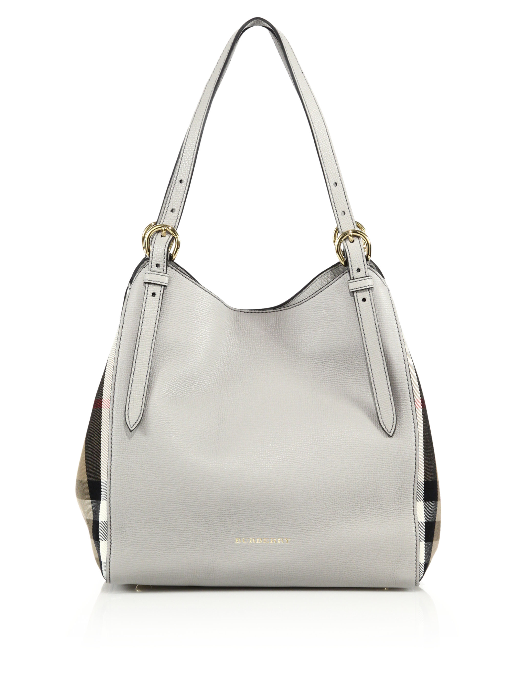 c9fb017adb73 Lyst - Burberry Canter Small Leather   House Check Tote in Gray