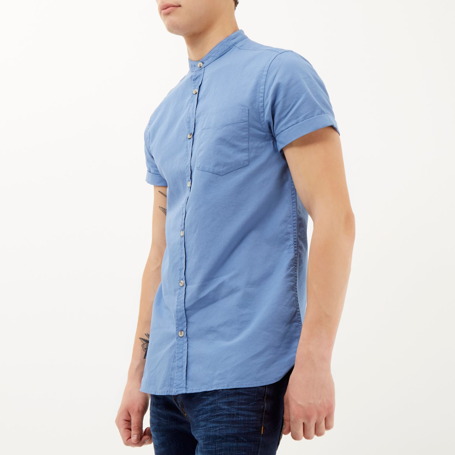 River island blue short sleeve grandad shirt in blue for for Short sleeve grandad shirt