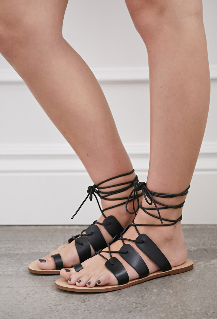 e77f17734532 Lyst - Forever 21 Lace-up Gladiator Sandals in Black