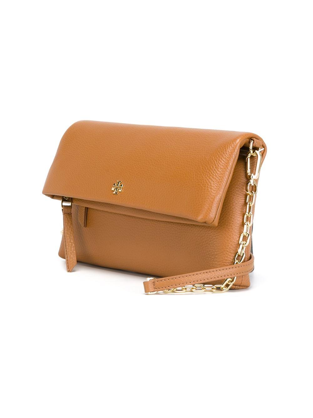 Tory Burch Foldover Shoulder Bag In Beige Brown Lyst