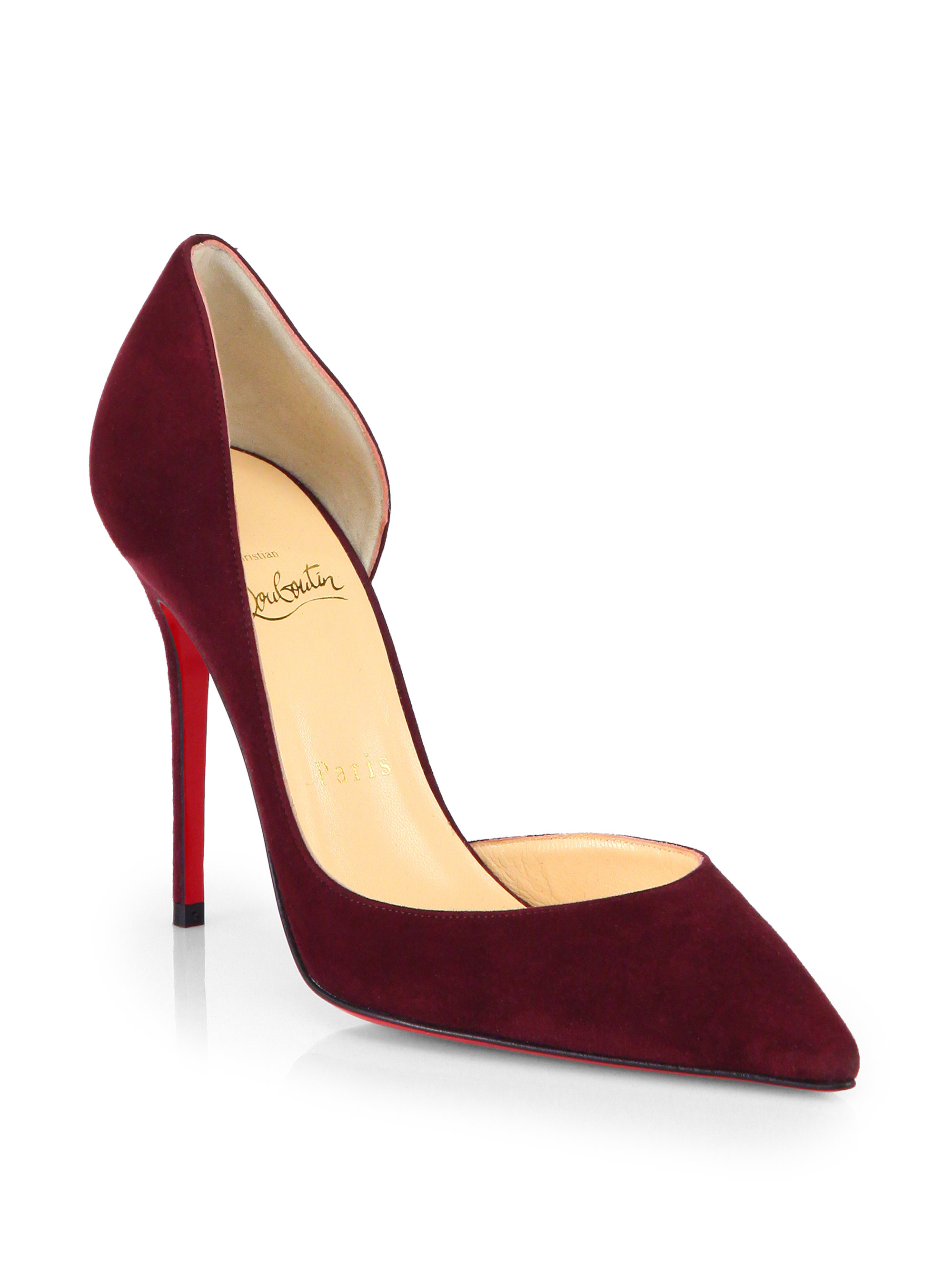 81224a1d74b Christian Louboutin Red Iriza 100 Suede Dorsay Pumps