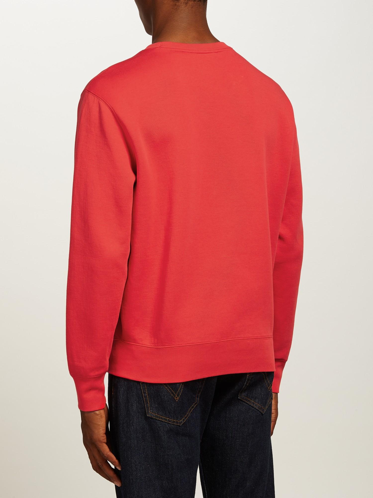 polo ralph lauren fleece sweatshirt in red for men. Black Bedroom Furniture Sets. Home Design Ideas