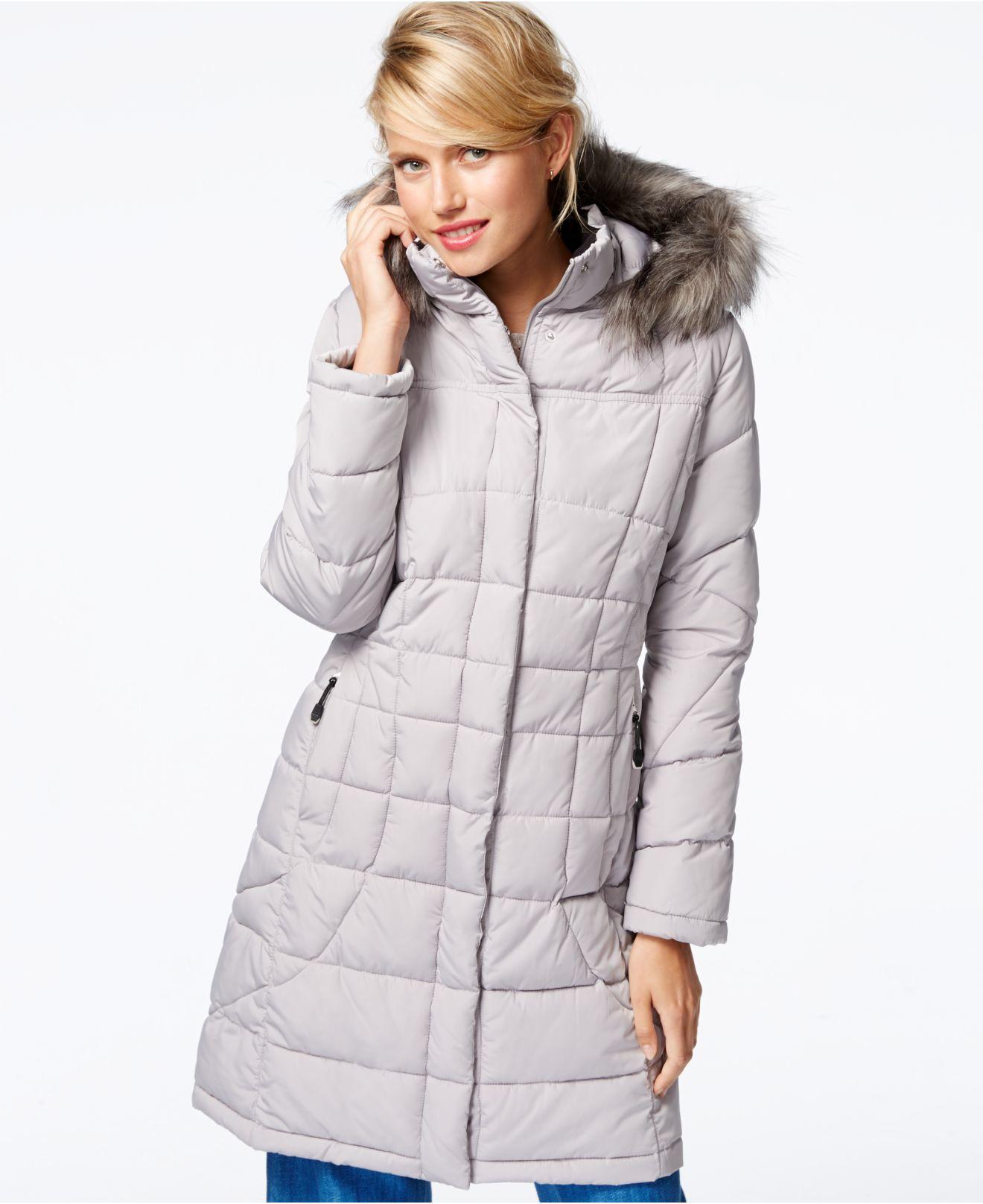 5eb76635a Calvin Klein Faux-fur-trim Quilted Puffer Coat in Metallic - Lyst