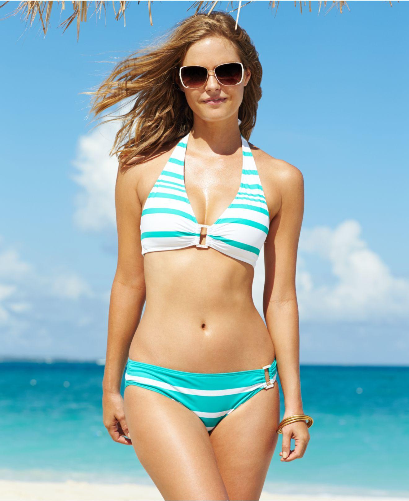 60377756316 Lyst - Lauren by Ralph Lauren Striped Hardware Halter Bikini Top in ...