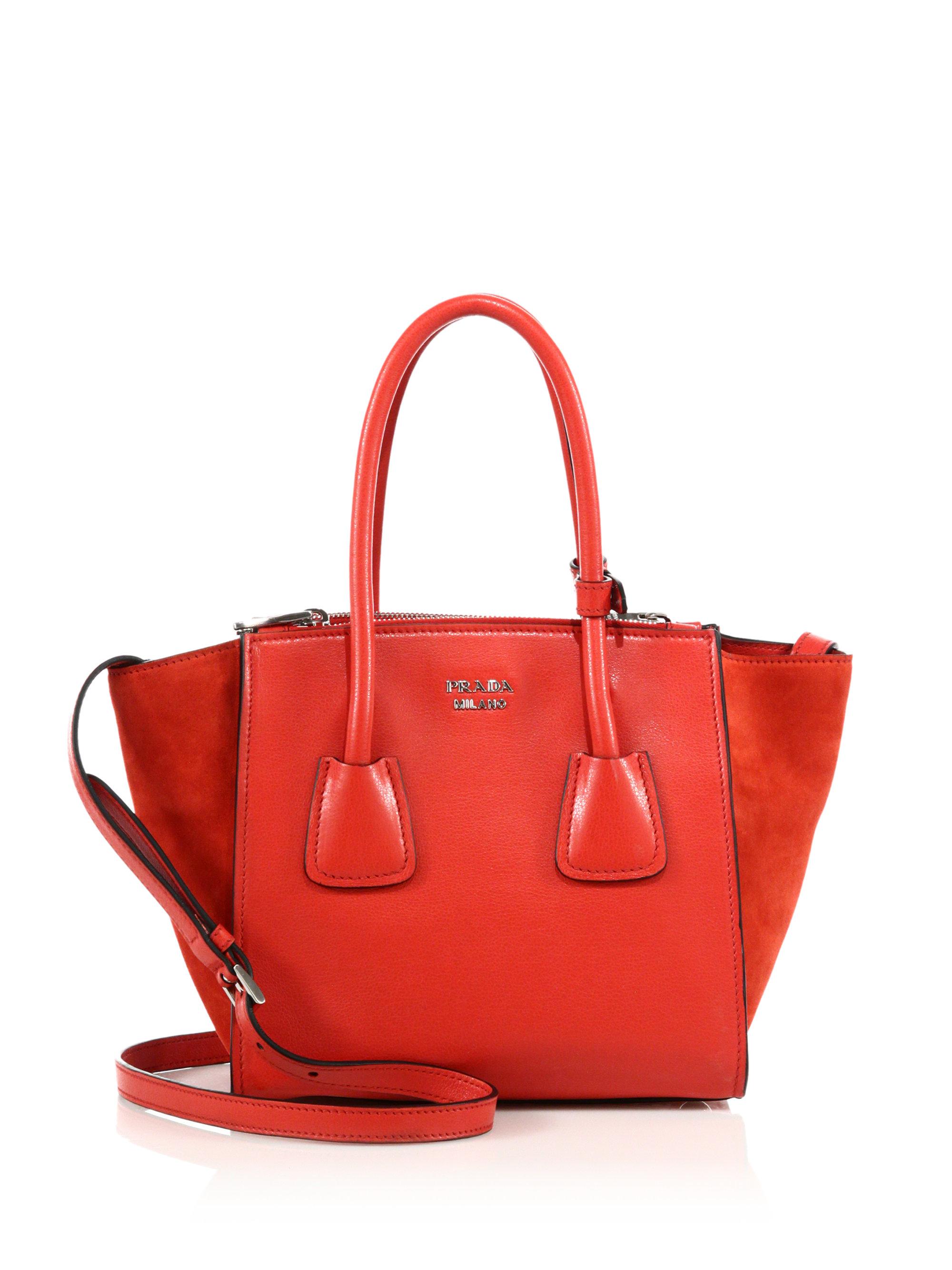 6ca0ce01840 Lyst - Prada Glace Calf   Suede Mini Twin Pocket Tote in Red