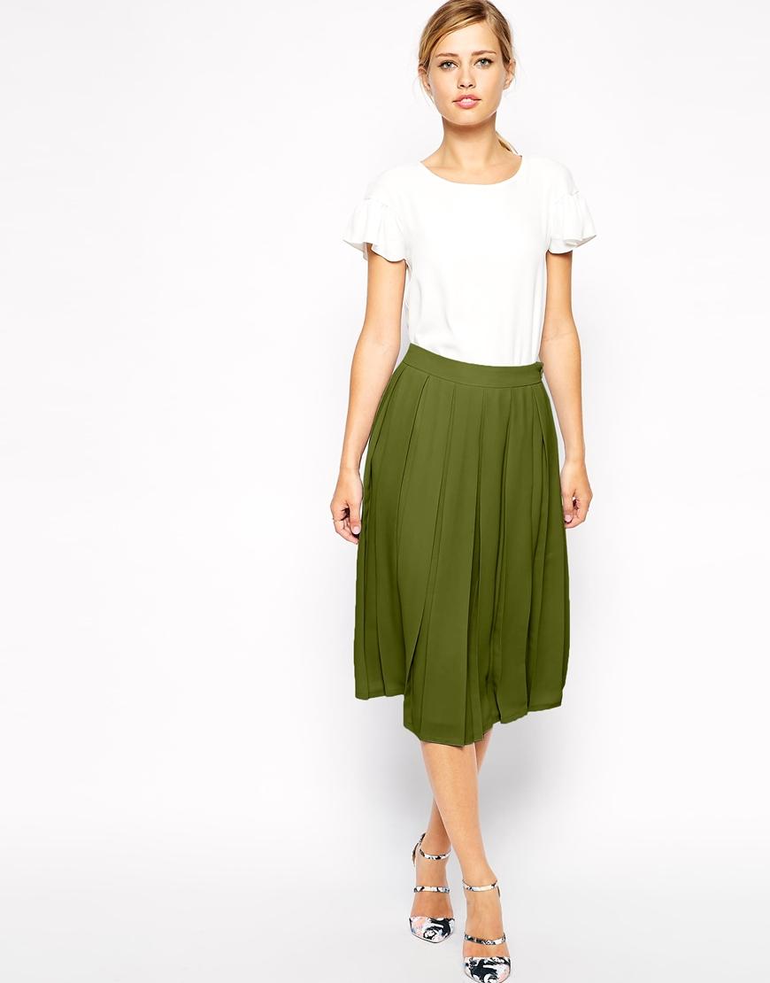 Asos Knife Pleat Midi Skirt in Natural | Lyst