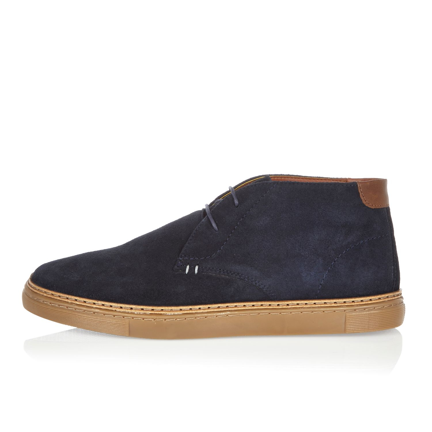 River island Navy Suede Chukka Boots in Black for Men | Lyst