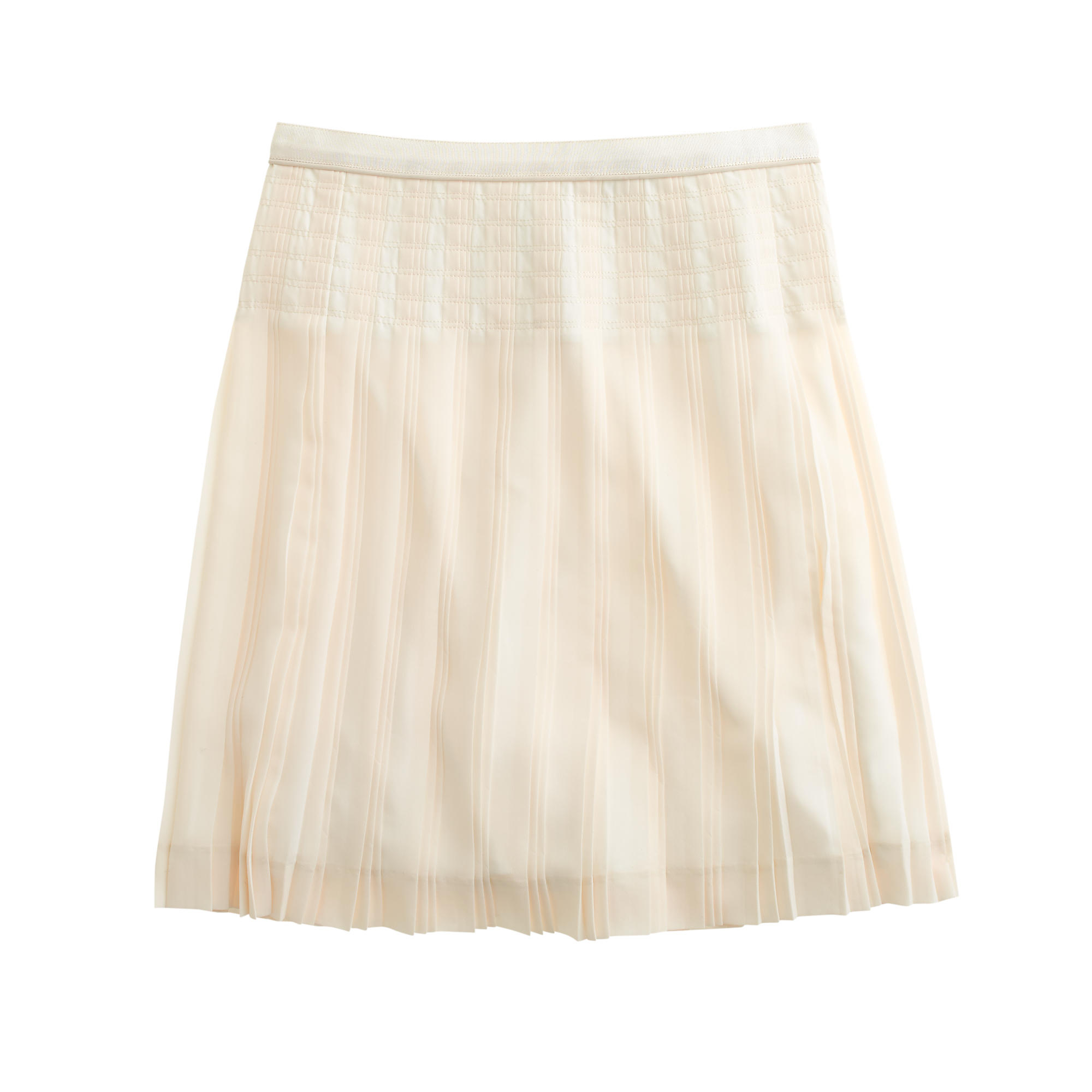 j crew stitched pleated mini skirt in white ivory
