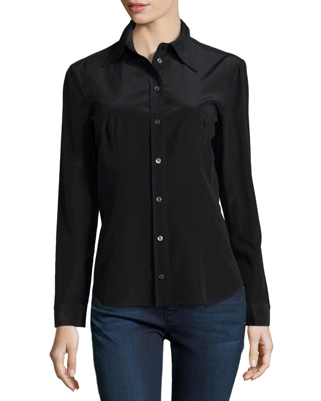 michael kors long sleeve button down shirt in black lyst