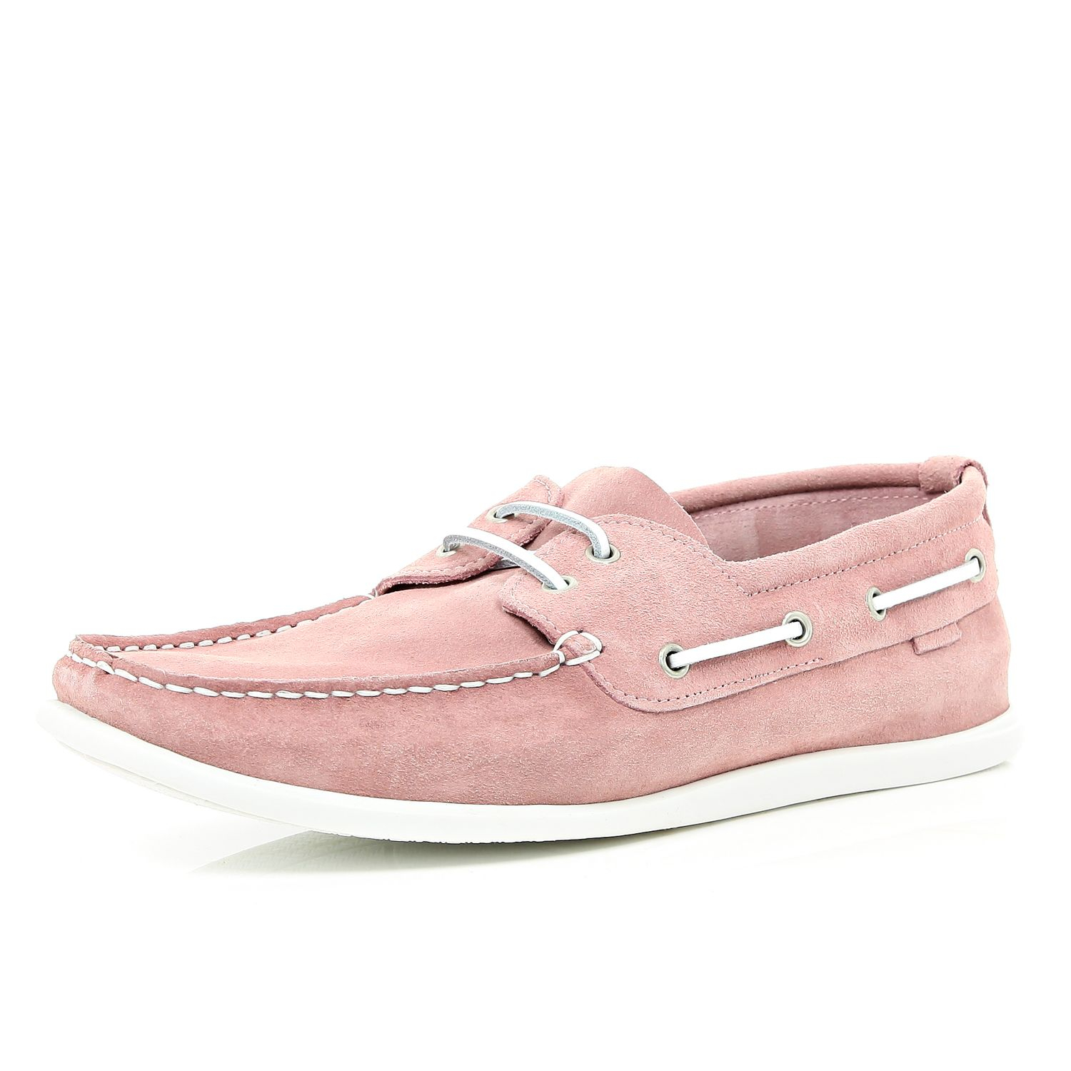 River island Light Pink Boat Shoes in Pink for Men | Lyst