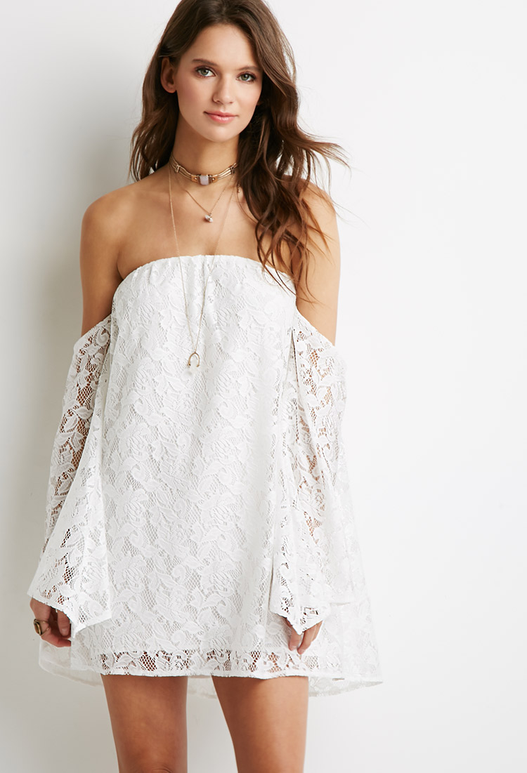 3a7a3b0bca83 Lyst - Forever 21 Off-the-shoulder Floral Lace Dress in White