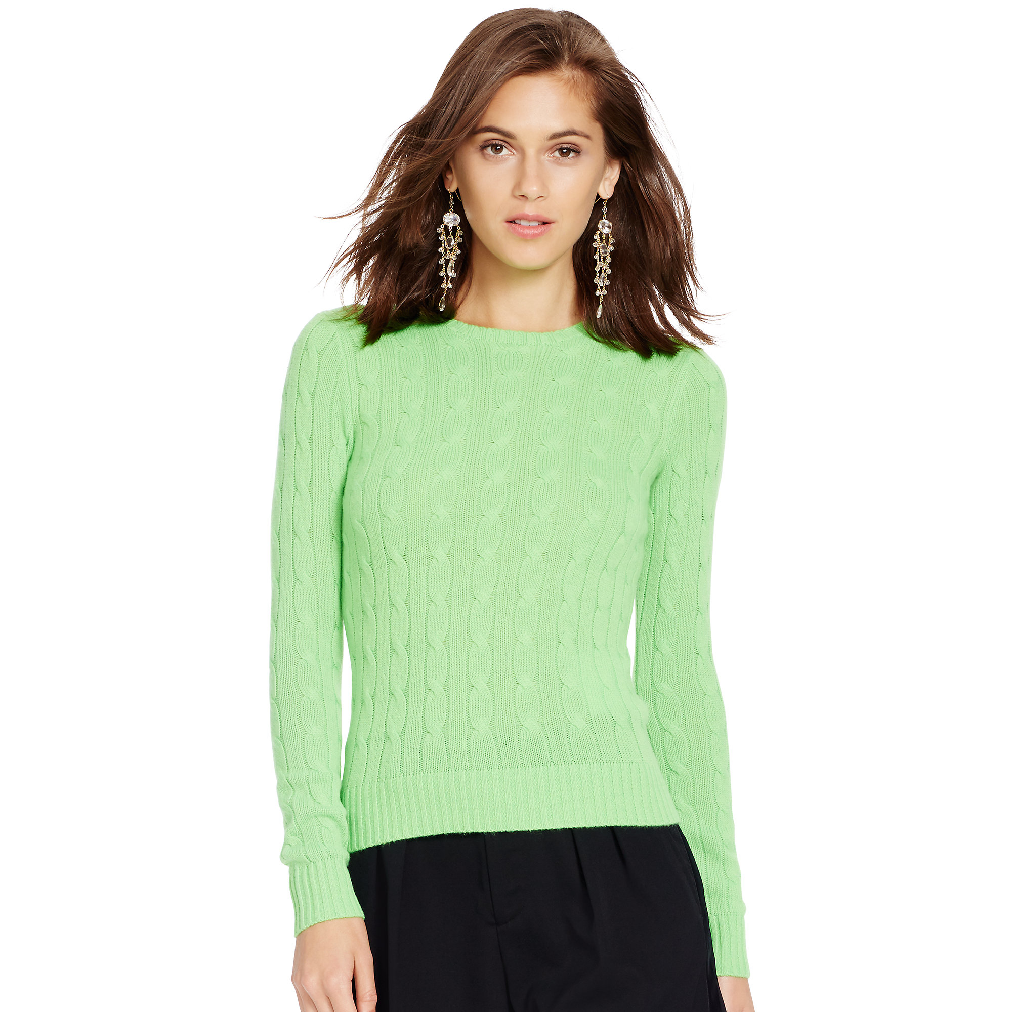 Lyst - Polo Ralph Lauren Cable-knit Cashmere Sweater in Green 6022baf7c