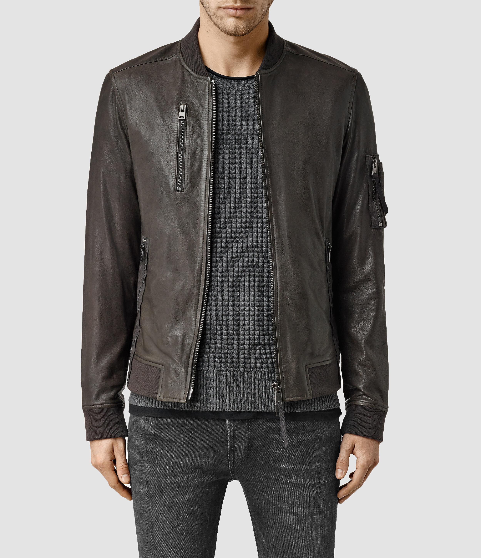 4cb6002ad AllSaints Gray Debeauvoir Leather Bomber Jacket for men