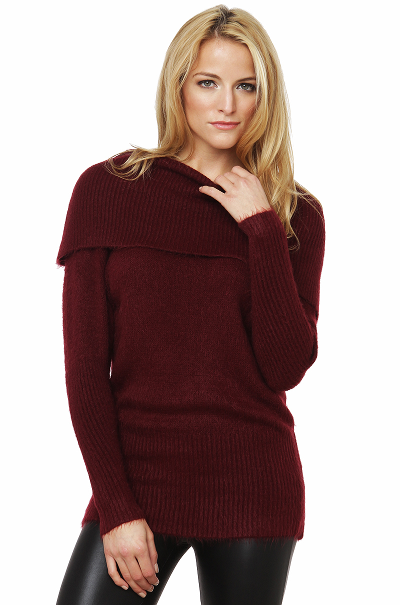 Akira black label Off The Shoulder Sweater Top in Purple | Lyst