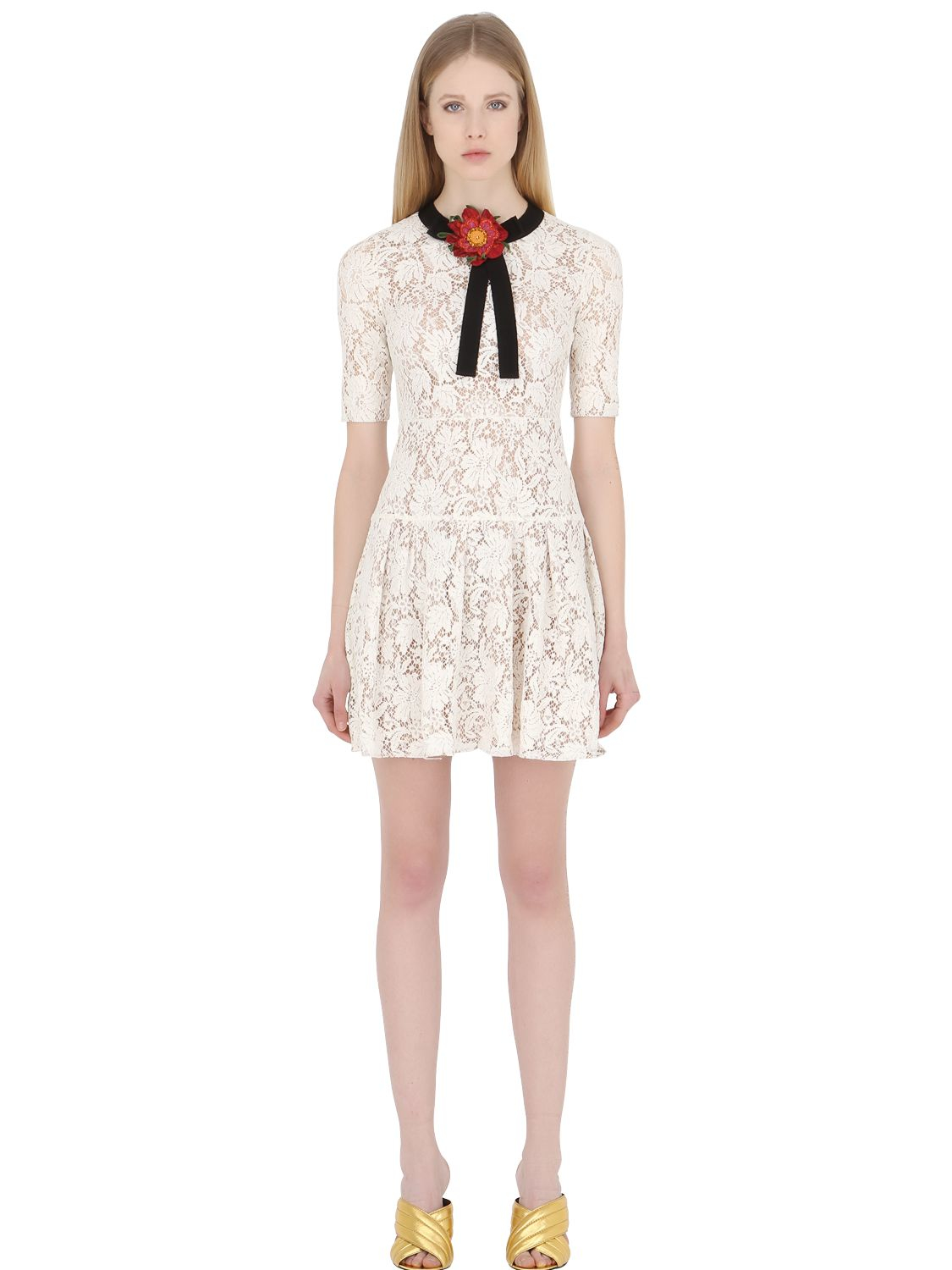 Lyst gucci flower embellished cotton and lace blend dress in white gallery mightylinksfo