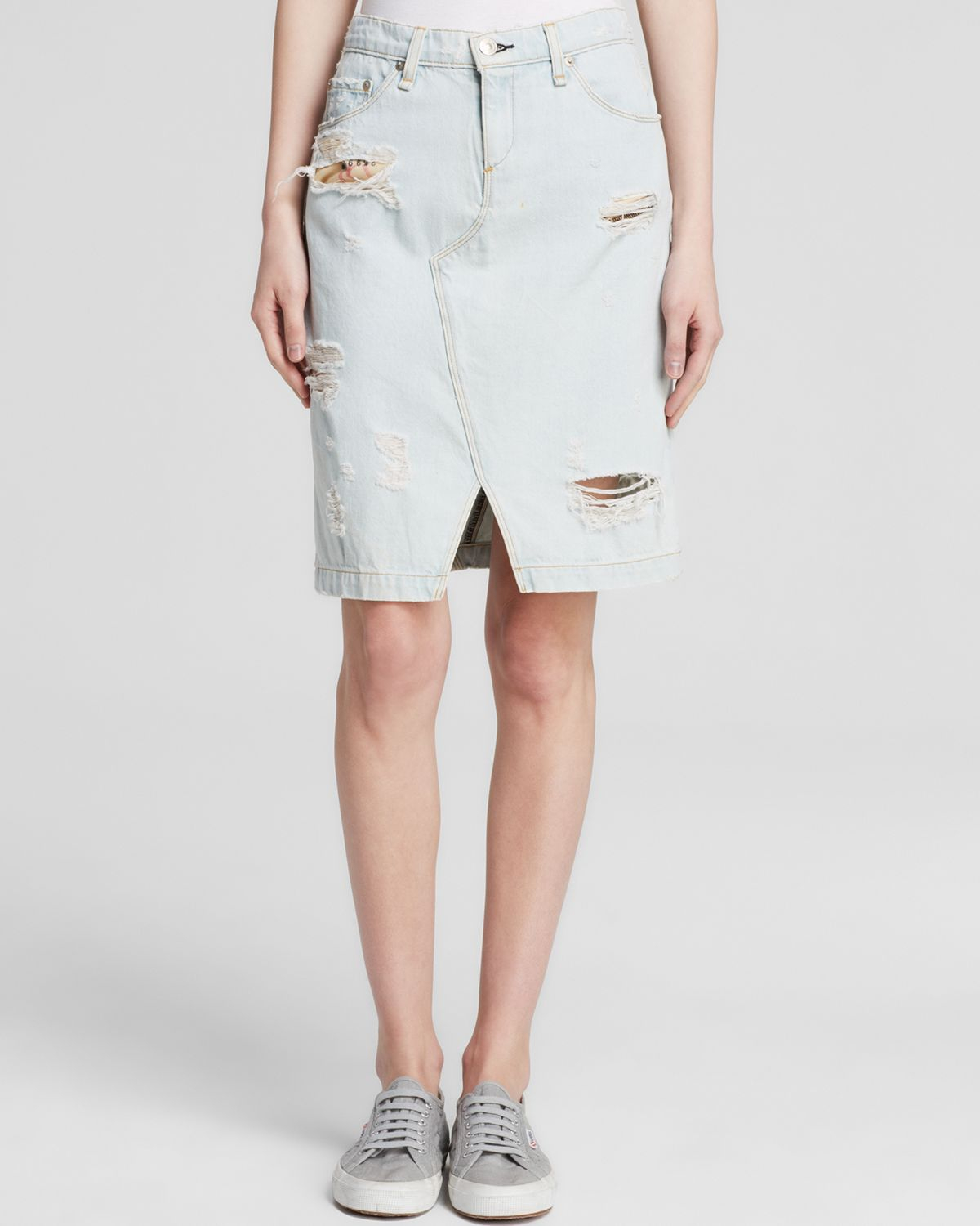 rag bone skirt denim in shredded norte in blue lyst