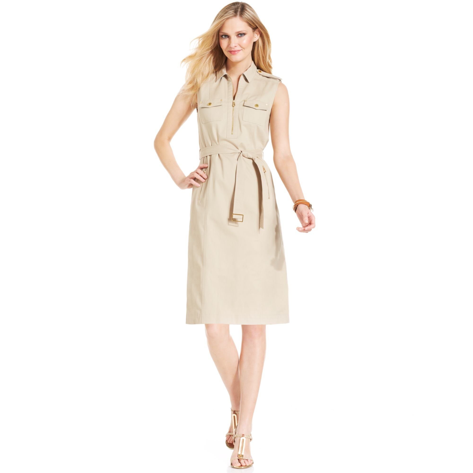 Jones New York Signature Petite Sleeveless Zippered Belted Dress in ...