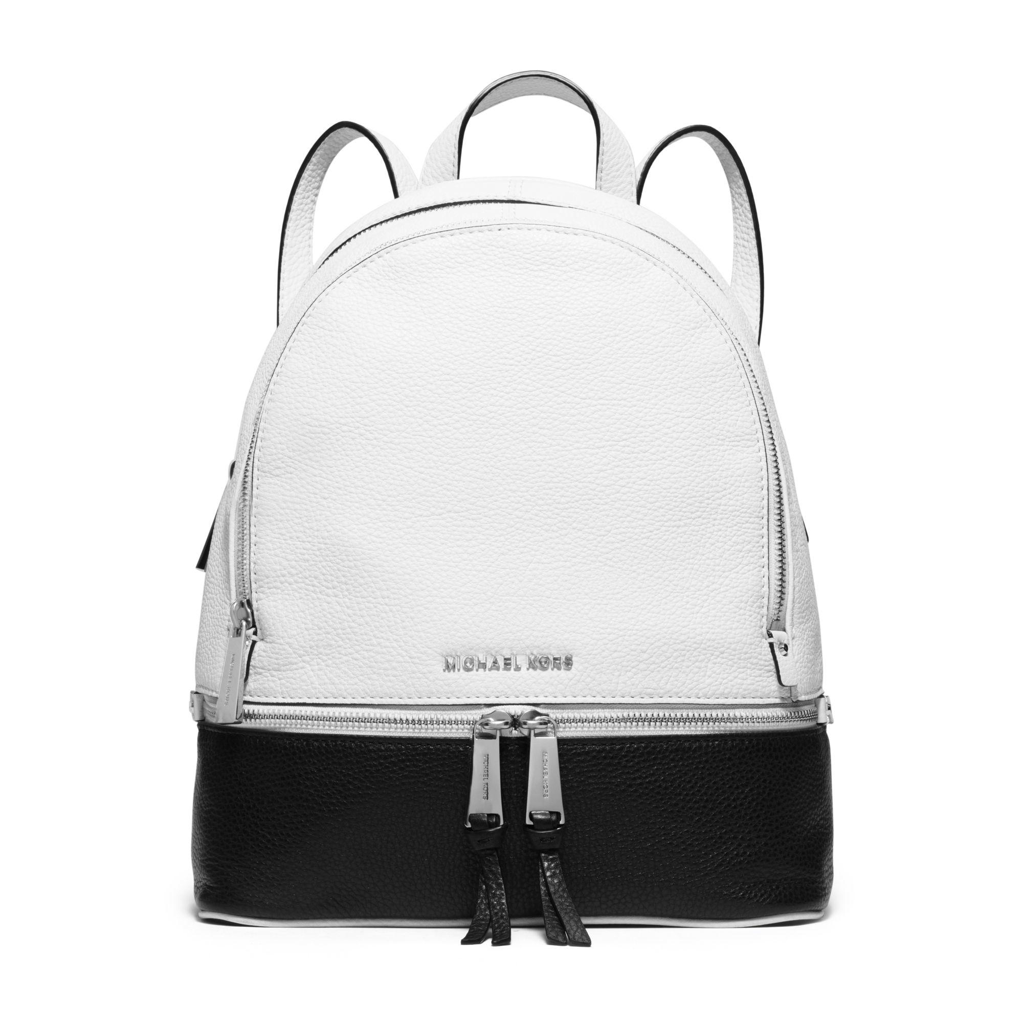 21acb9037f4a Michael Kors Rhea Medium Color-block Leather Backpack in Black - Lyst