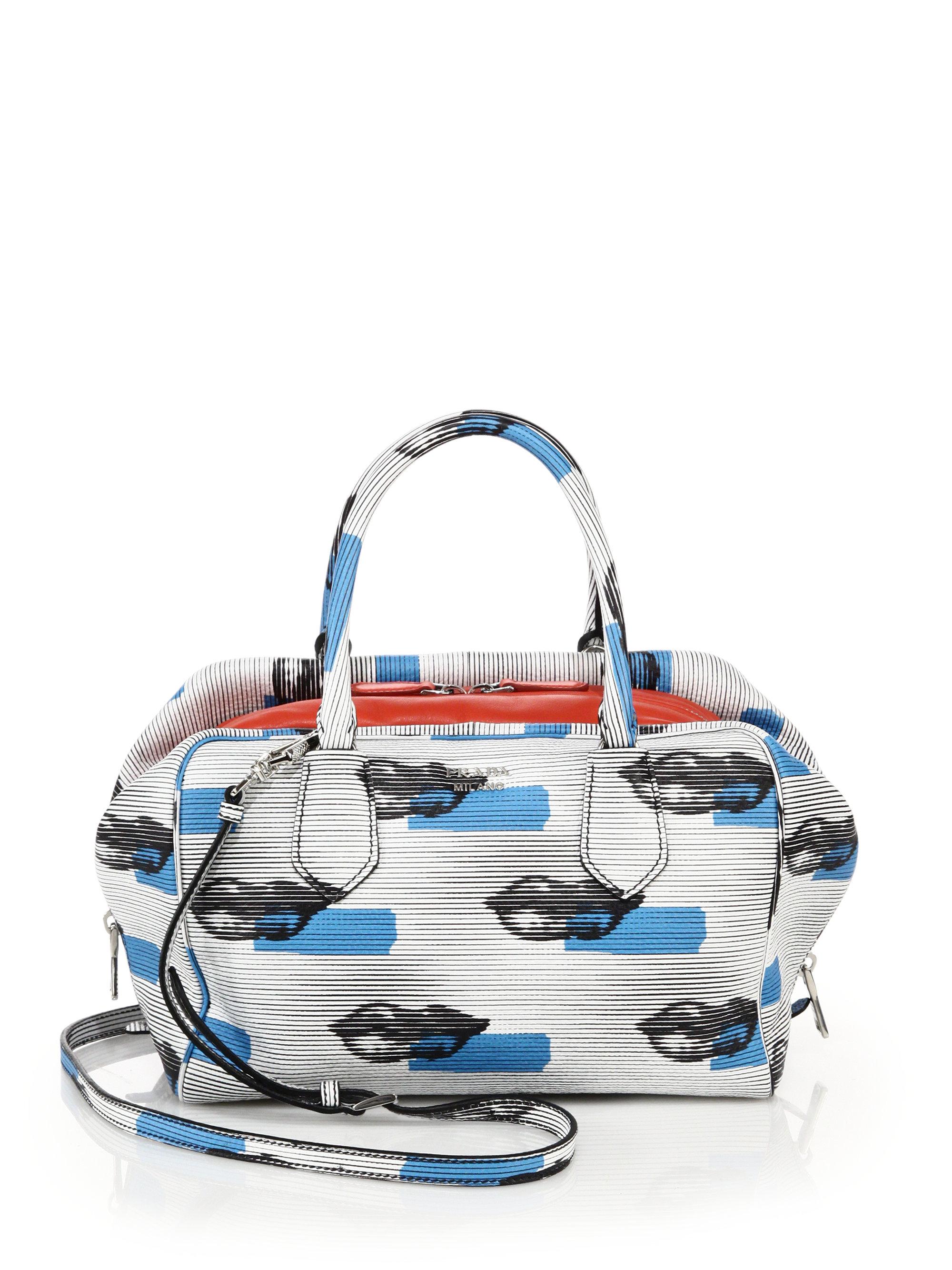 Prada Lip-print Leather Inside Bag in White (white-blue) | Lyst