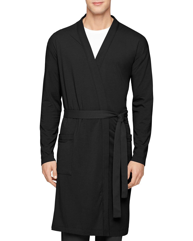 Lyst Calvin Klein Cotton Modal Robe In Black For Men