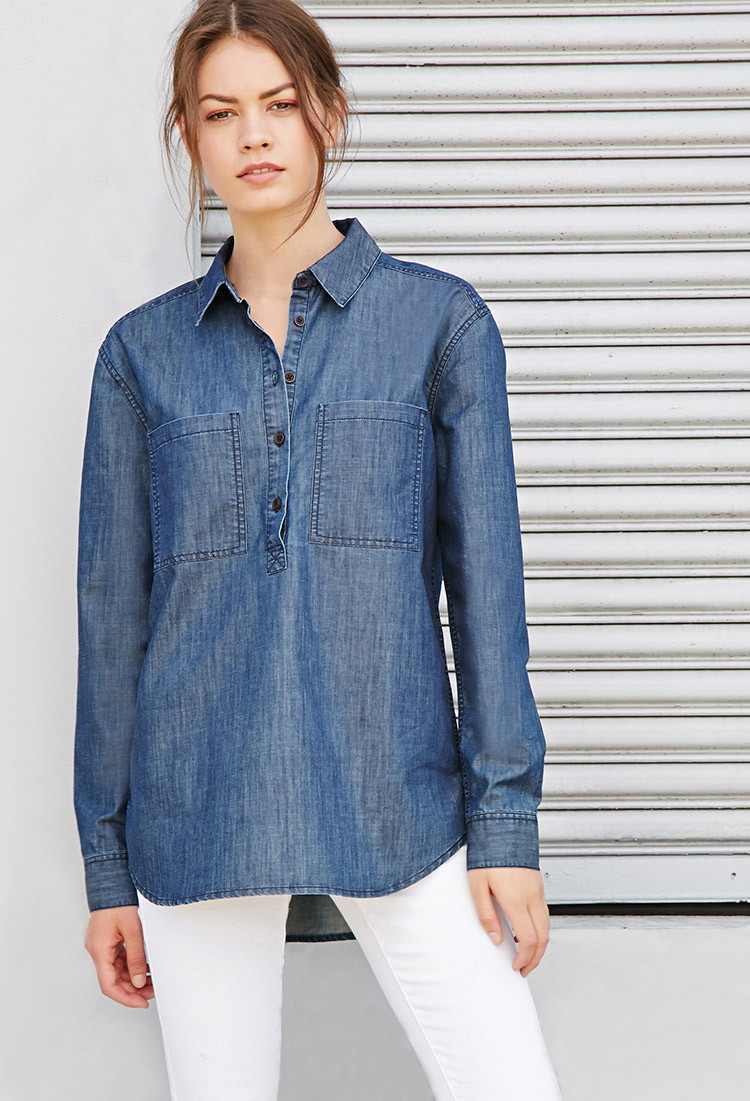 Lyst forever 21 chambray popover shirt in blue for Chambray shirt women