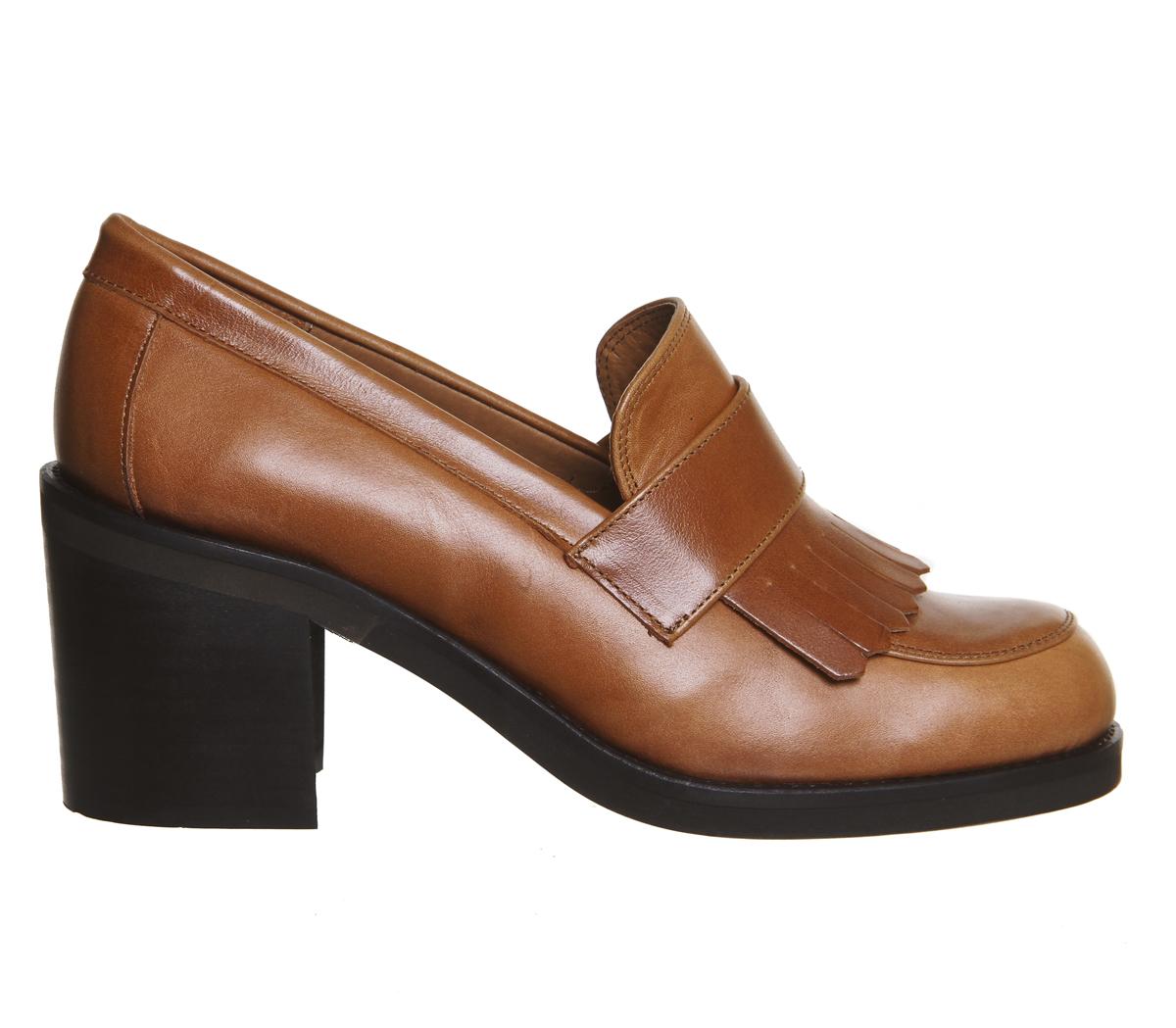 Office Quiff Fringe Block Heel Loafers In Brown Lyst