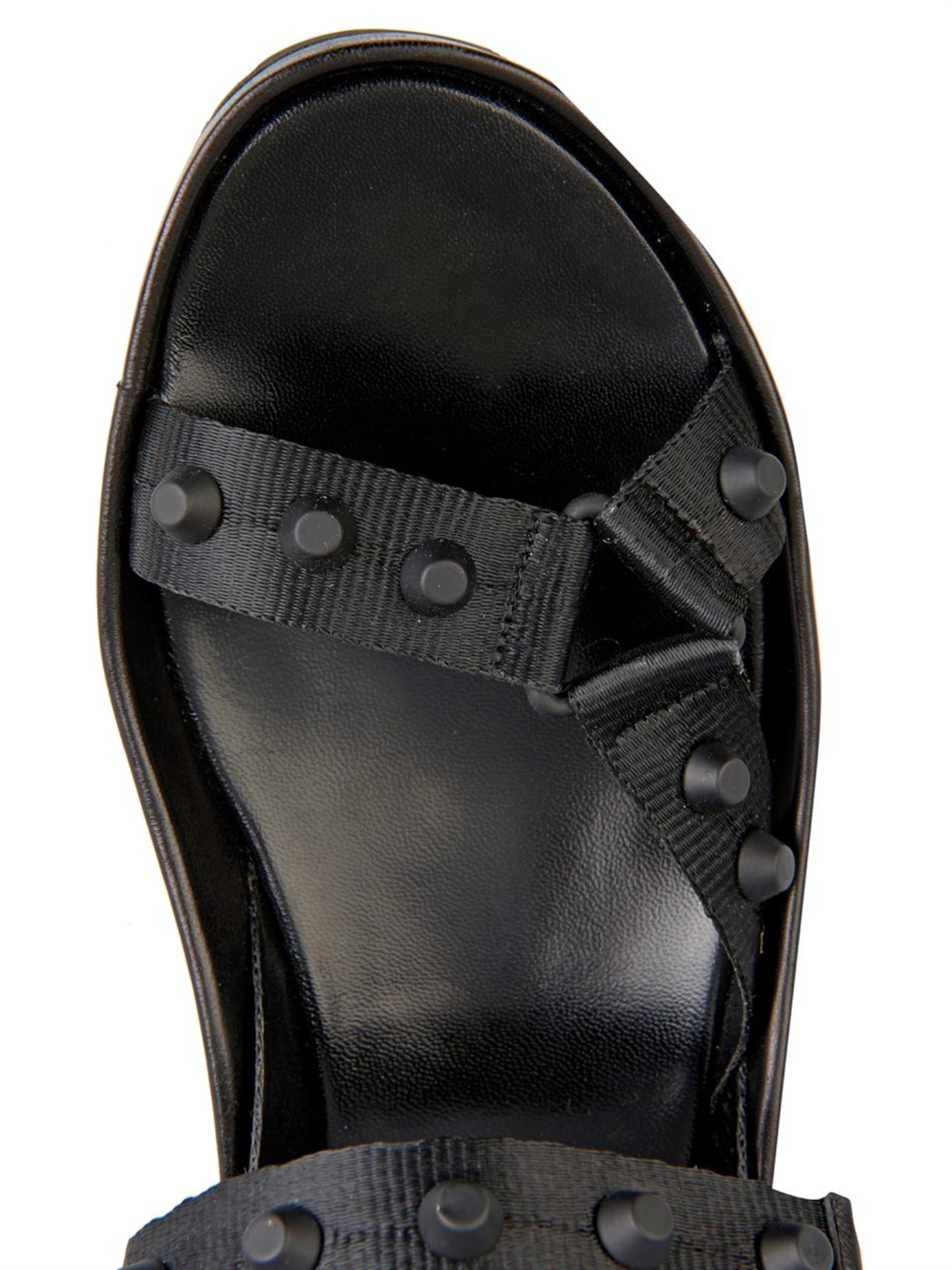 Balenciaga Arena Rubber Studded Leather Sandals In Black