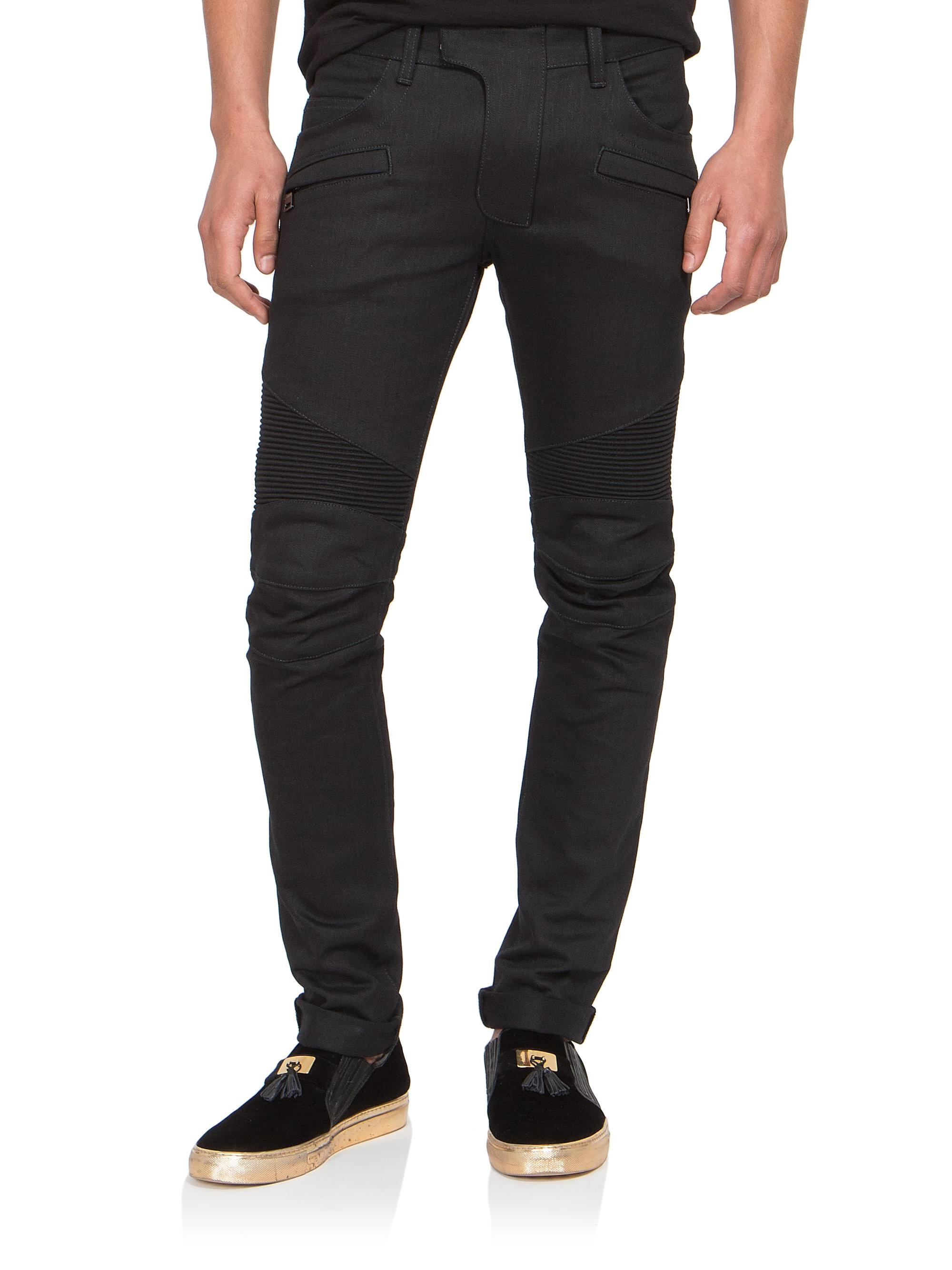 balmain slim fit raw denim moto jeans in black for men lyst. Black Bedroom Furniture Sets. Home Design Ideas