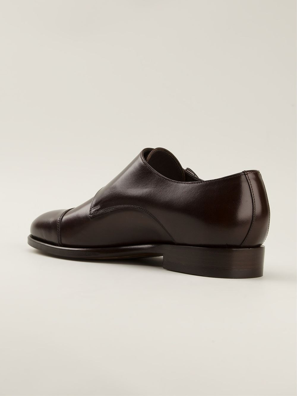 Lyst Canali Classic Two Buckles Monk Shoes In Brown For Men