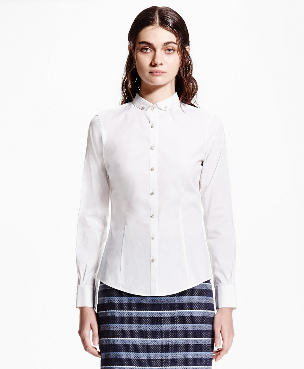 Brooks Brothers Tailored Fit Club Collar Shirt In White Lyst
