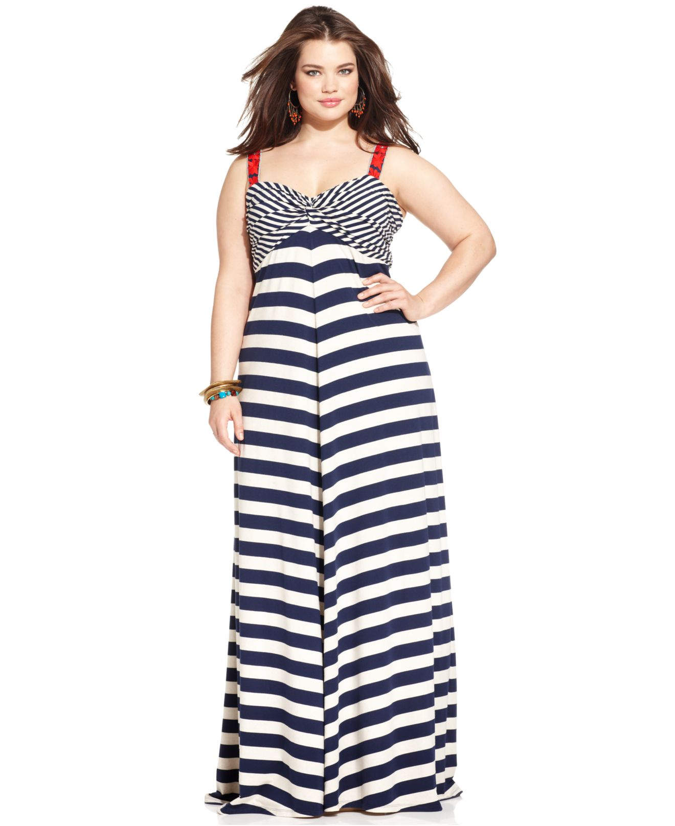 Lucky Brand Lucky Brand Plus Size Striped Empire Maxi Dress in Blue ...