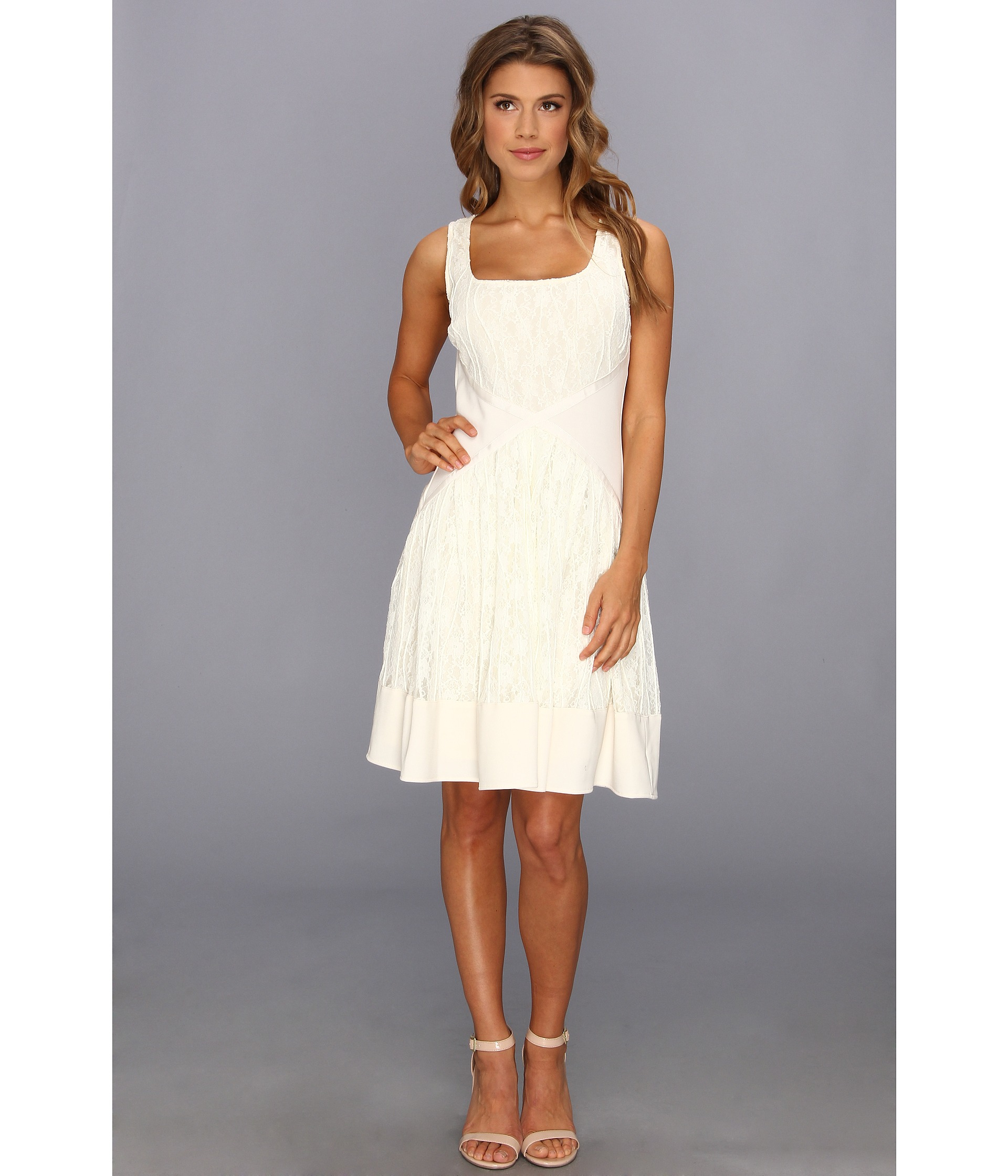 Badgley mischka Fit and Flare Cocktail Dress in Natural  Lyst