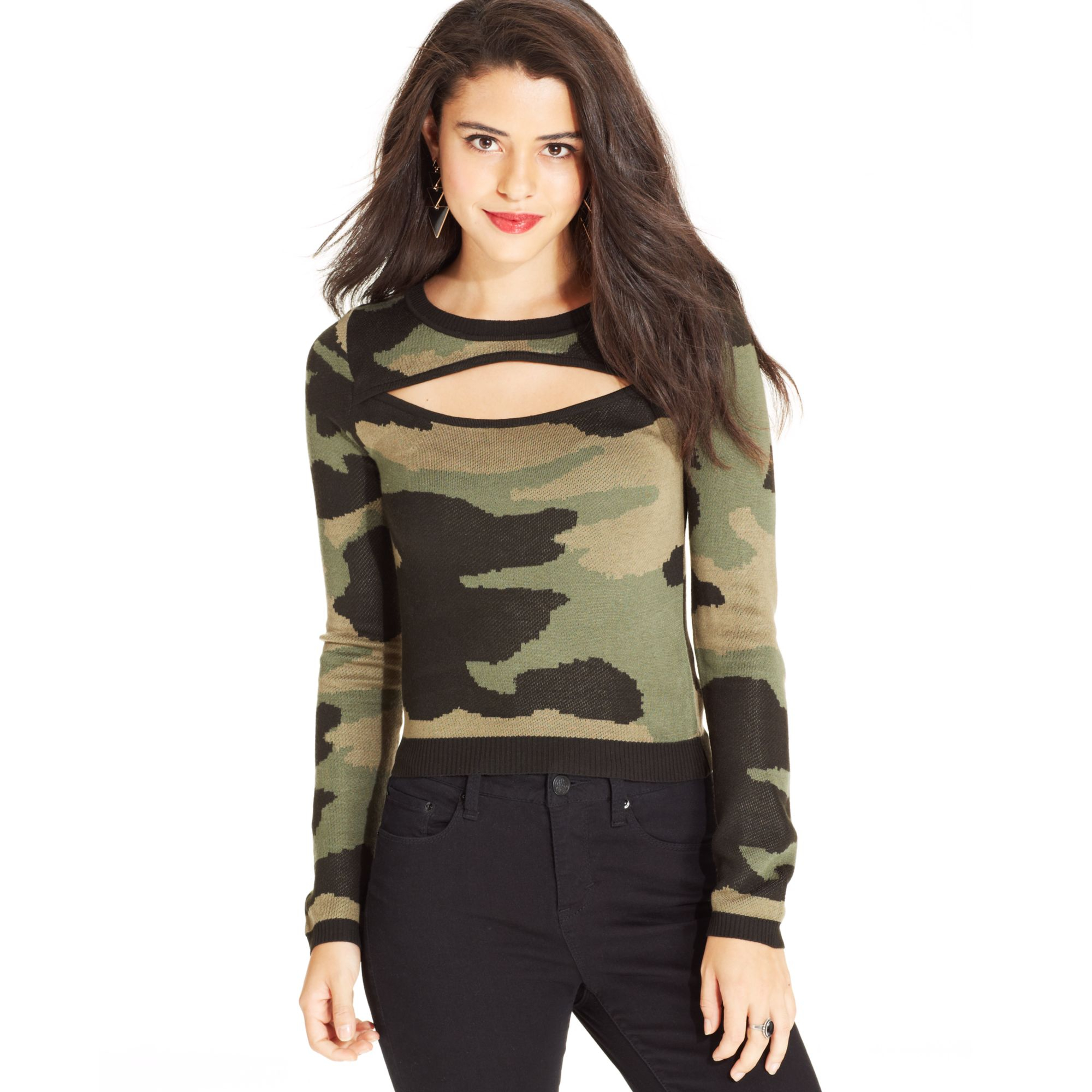 Material girl Juniors Cropped Camouflage-print Sweater in Green | Lyst