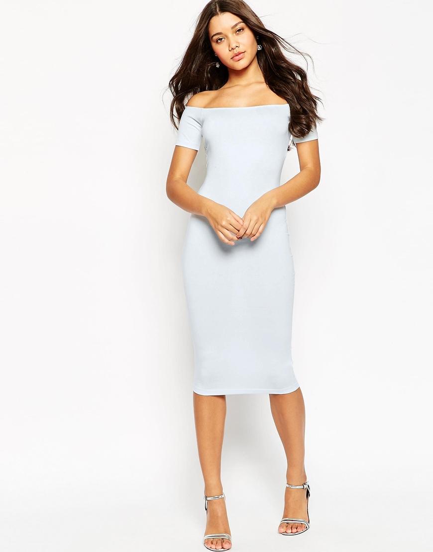2edcea0c31454 ASOS Short Sleeve Off The Shoulder Bardot Midi Bodycon Dress in Blue ...