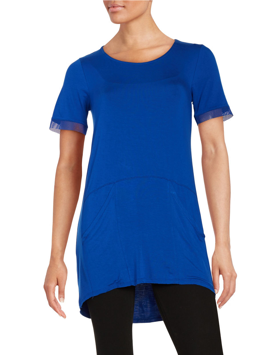 Lord taylor mesh trimmed tee in blue lyst for Blue fish clothing