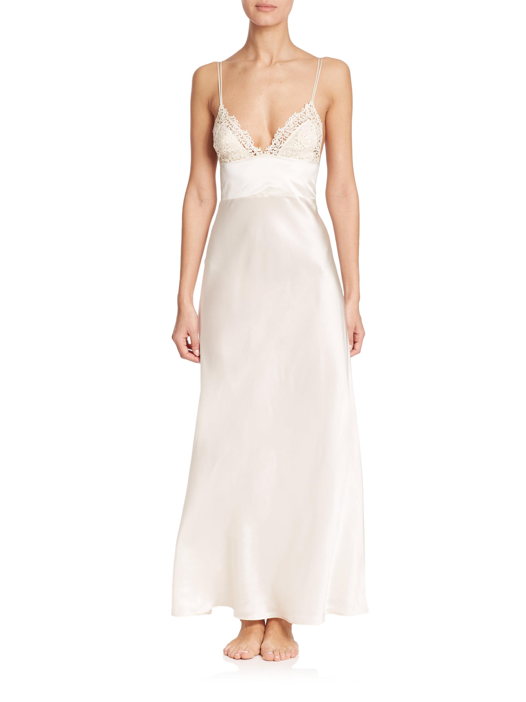 Lyst - La Perla Lace-trimmed Silk Nightgown in Natural