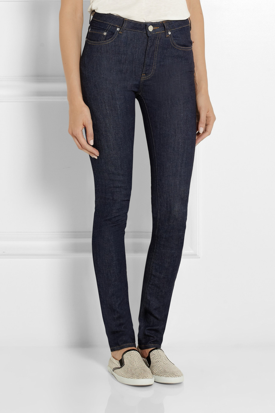 acne studios pin raw reform high rise skinny jeans in blue lyst. Black Bedroom Furniture Sets. Home Design Ideas