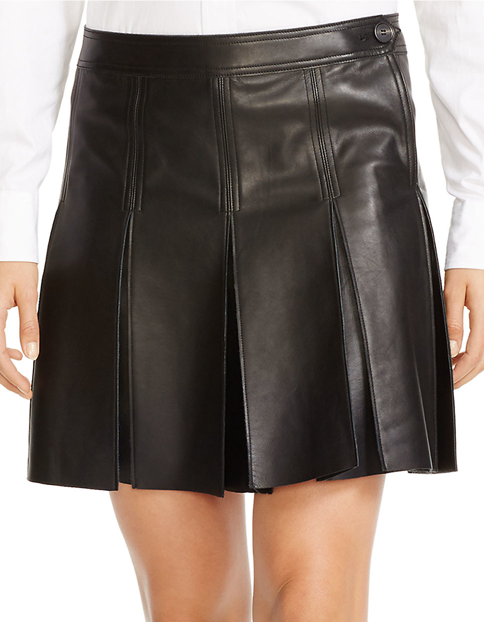 6482558bd3 ... sale lyst polo ralph lauren pleated leather skirt in black 7fddf e93ea