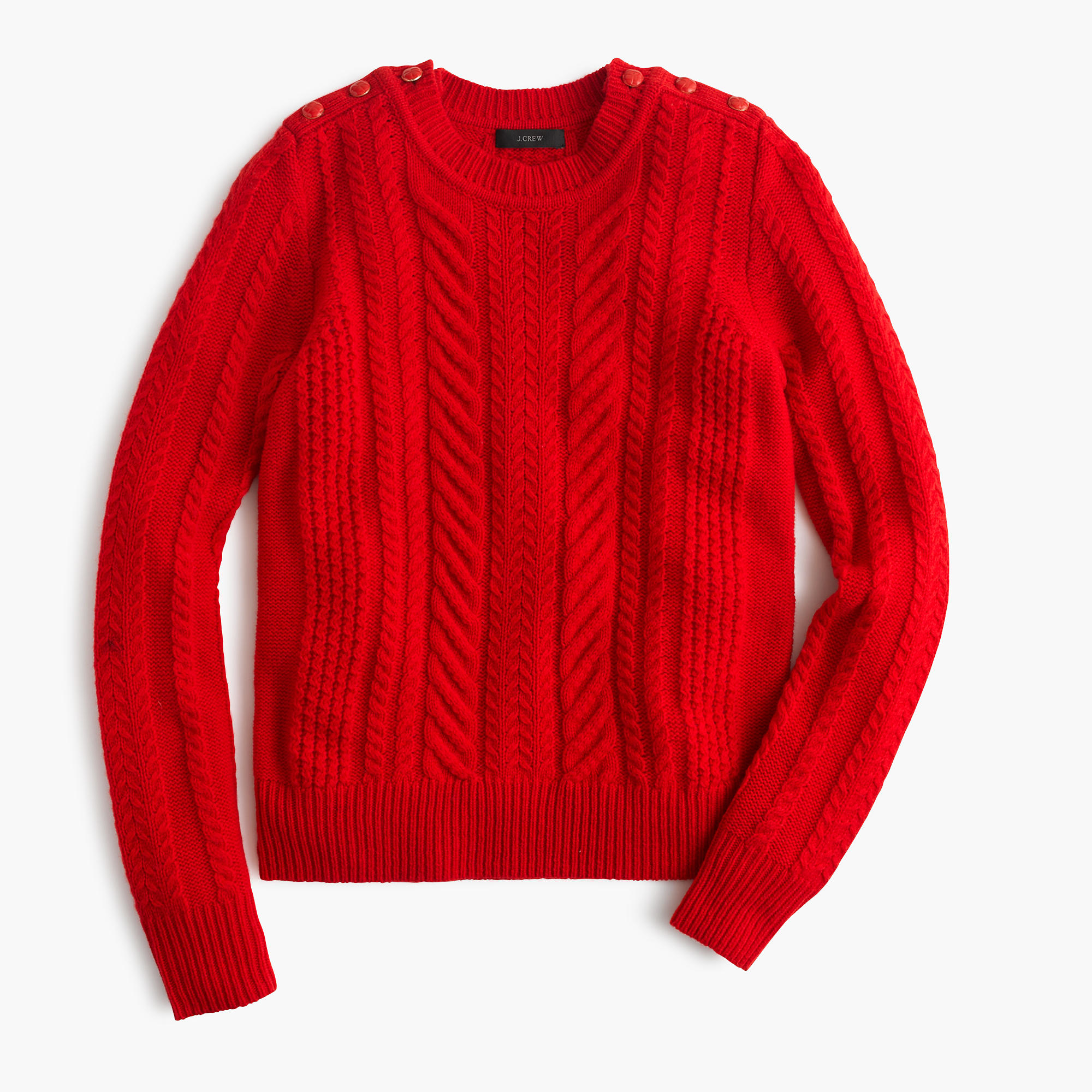 J Crew Perfect Cable Sweater In Red Lyst