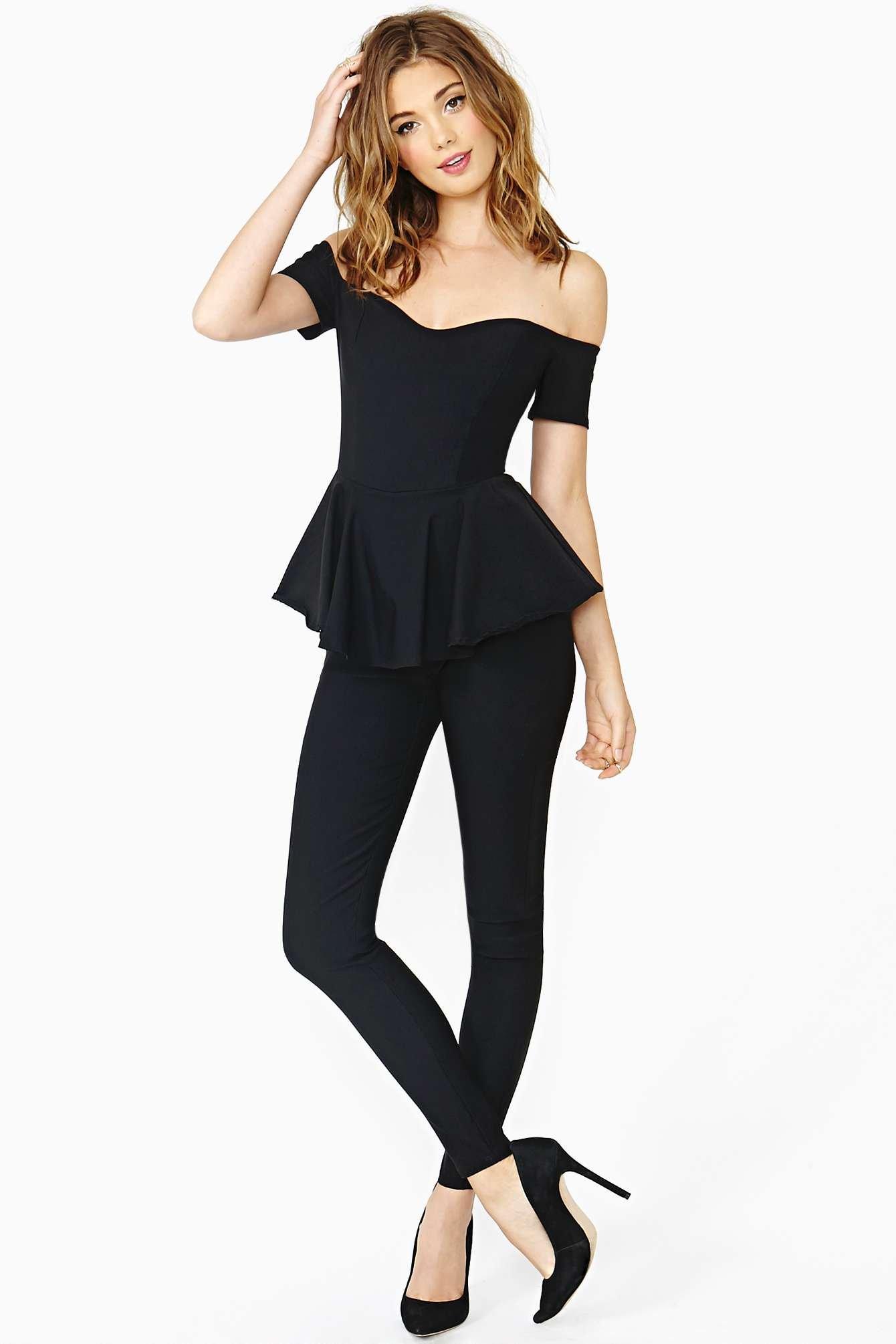 Lyst Nasty Gal Martina Peplum Jumpsuit In Black