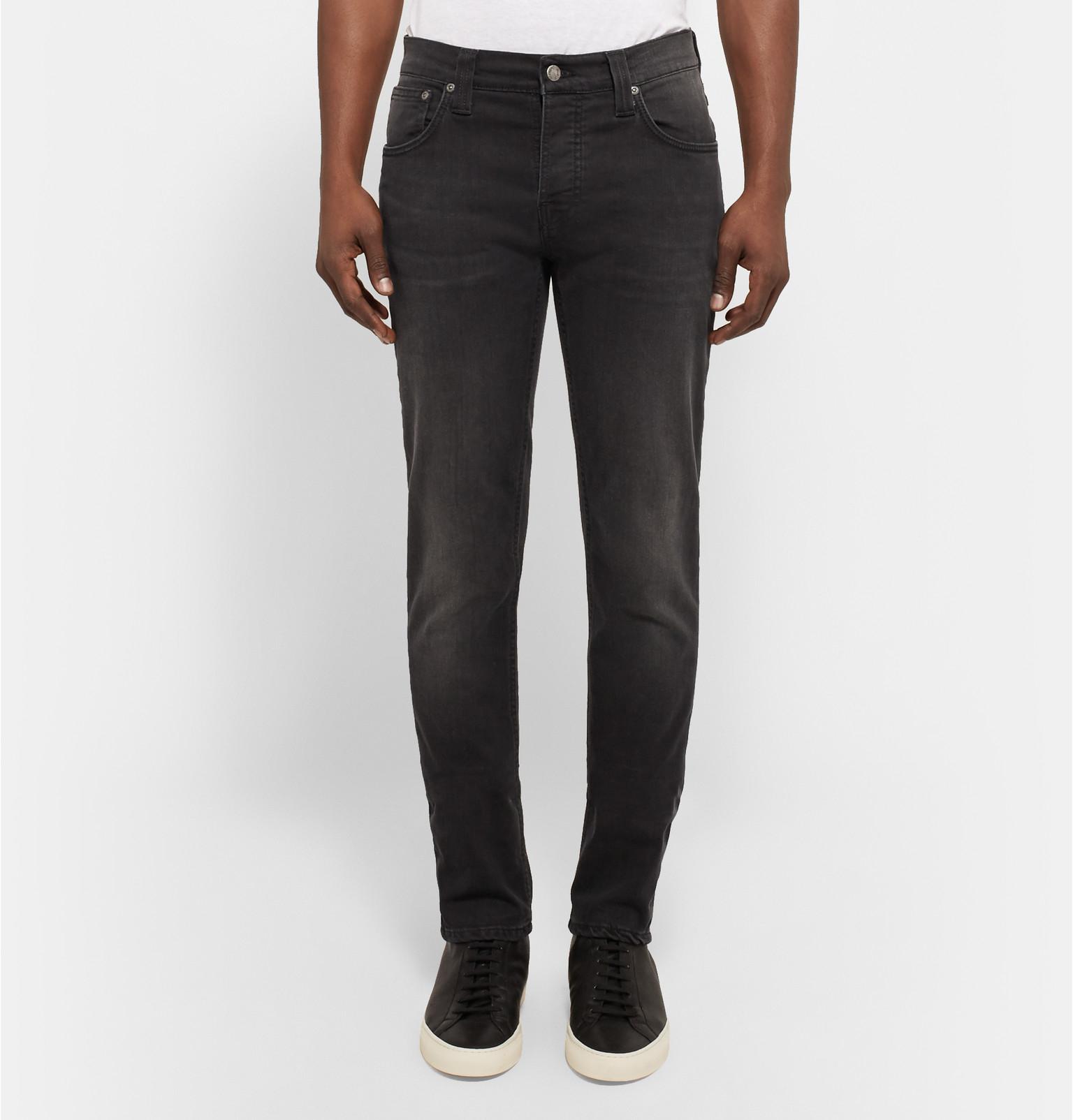 Nudie Jeans Grim Tim Washed Organic Denim Jeans in Black for Men